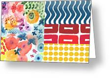 Bold Boho Patchwork- Abstract Art Greeting Card by Linda Woods