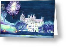 Boldt Castle Fireworks Greeting Card by Robert P Hedden