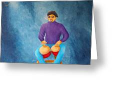 Bongo Man Greeting Card by Pamela Allegretto