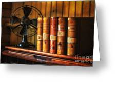 Books And Fan Greeting Card by Jerry Fornarotto