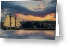 Boothbay Harbor Schooner Greeting Card by Lori Deiter