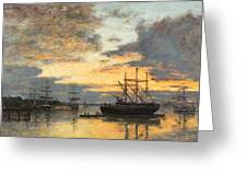 Bordeaux In the Harbor Greeting Card by Eugene Louis Boudin