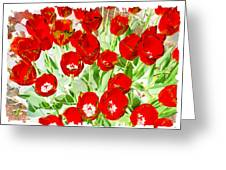 Bordered Red Tulips Greeting Card by Will Borden