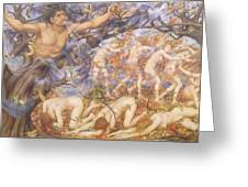 Boreas And Fallen Leaves Greeting Card by Evelyn De Morgan