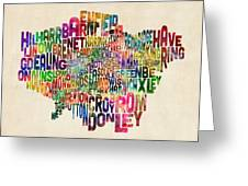 Boroughs Of London Typography Text Map Greeting Card by Michael Tompsett