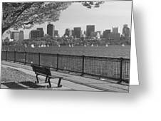 Boston Charles River Black And White  Greeting Card by John Burk
