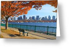 Boston Charles River In Autumn Greeting Card by John Burk