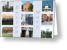 Boston Collage Greeting Card by Barbara McDevitt