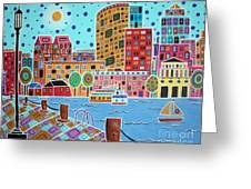 Boston Harbor Greeting Card by Karla Gerard