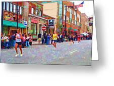Boston Marathon Mile Twenty Two Greeting Card by Barbara McDevitt