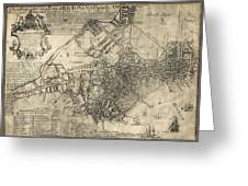 BOSTON of BRITISH DOMINION MAP  1769 Greeting Card by Daniel Hagerman