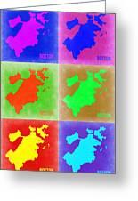Boston Pop Art Map 3 Greeting Card by Naxart Studio