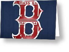 Boston Red Sox Logo Letter B Baseball Team Vintage License Plate Art Greeting Card by Design Turnpike