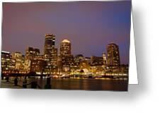 Boston Skyline Blue Hour Greeting Card by Stewart Mellentine