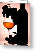 Bottle And Wine Glass Greeting Card by Sirapol Siricharattakul