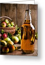 Bottled Cider With Apples Greeting Card by Amanda Elwell