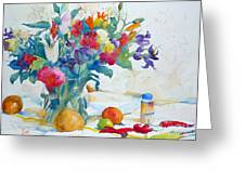 Bouquet And Red Peppers Greeting Card by Andre MEHU
