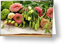 Bouquet In The Making Greeting Card by Lainie Wrightson
