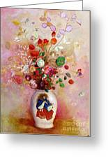 Bouquet Of Flowers In A Japanese Vase Greeting Card by Odilon Redon
