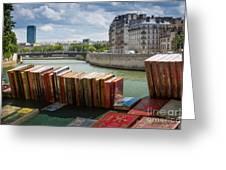 Bouquinistes Le Long De La Seine Greeting Card by Inge Johnsson