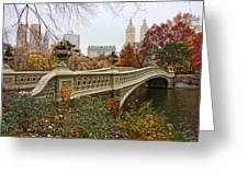 Bow Bridge In Central Park Greeting Card by June Marie Sobrito