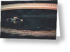 Bow Bridge Rowboat Central Park Greeting Card by Tom Wurl