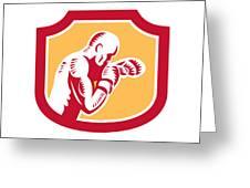 Boxer Boxing Jabbing Punch Side Shield Retro Greeting Card by Aloysius Patrimonio