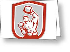 Boxer Boxing Punching Jabbing Circle Retro Greeting Card by Aloysius Patrimonio