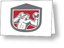 Boxer Punching Boxing Shield Retro Greeting Card by Aloysius Patrimonio