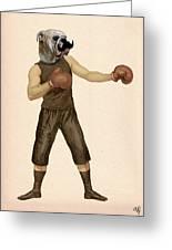 Boxing Bulldog Greeting Card by Kelly McLaughlan