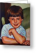 Boy In Blue Shirt Greeting Card by Kenneth Cobb