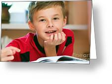 Boy Reading Book Portrait Greeting Card by Michal Bednarek