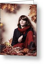 Boy Sitting On Autumn Leaves Artistic Portrait Greeting Card by Oleksiy Maksymenko
