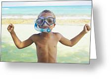 Boy With Snorkel Greeting Card by Kicka Witte