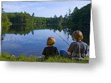 Boys Fishing Greeting Card by Diane Diederich