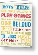 Boys Rules Greeting Card by Debbie DeWitt