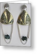 Brass Etching Green Teal Earrings Greeting Card by Brenda Berdnik