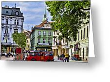 Bratislava Town Square Greeting Card by Jon Berghoff