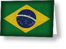 Brazil Flag Vintage Distressed Finish Greeting Card by Design Turnpike