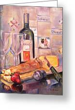 Bread And Wine Greeting Card by Dorothy Siclare