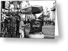 Break Time On Bourbon Street Mono Greeting Card by John Rizzuto