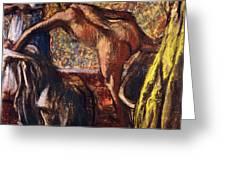 Breakfast after the Bath Le Petit Dejeuner apres le Bain Greeting Card by Edgar Degas