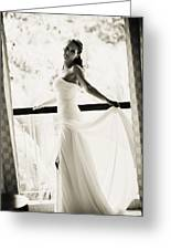 Bride At The Balcony. Black And White Greeting Card by Jenny Rainbow