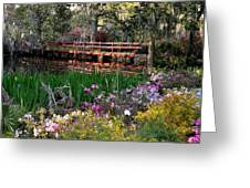 Bridge And Floral Greeting Card by Jeff  Bjune
