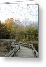 Bridge Into Autumn Greeting Card by Guy Ricketts