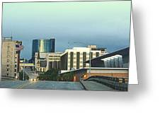 Bridge Street View Of Downtown Grand Rapids Michigan Greeting Card by Rosemarie E Seppala