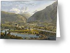 Brig On The Rhone, Bernese Alps Greeting Card by Swiss School