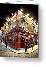 Bright Lights Of Temple Bar In Dublin Ireland Greeting Card by Mark E Tisdale