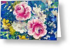 Brightly Floral Greeting Card by Susan Leggett