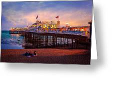 Brighton's Palace Pier At Dusk Greeting Card by Chris Lord